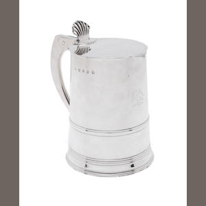 A George III silver tankard with glass base by Benjamin Laver, London 1788