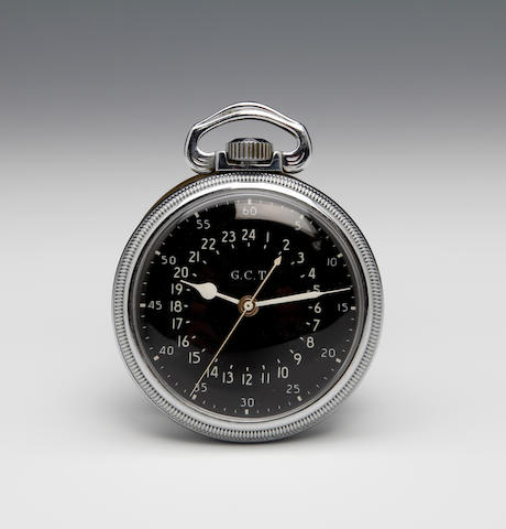 Hamilton: A nickel cased keyless wound, open face military pocket watchc. 1942