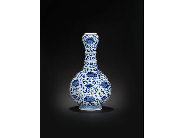 A fine and rare blue and white garlic-head bottle vase Qianlong seal mark and of the period