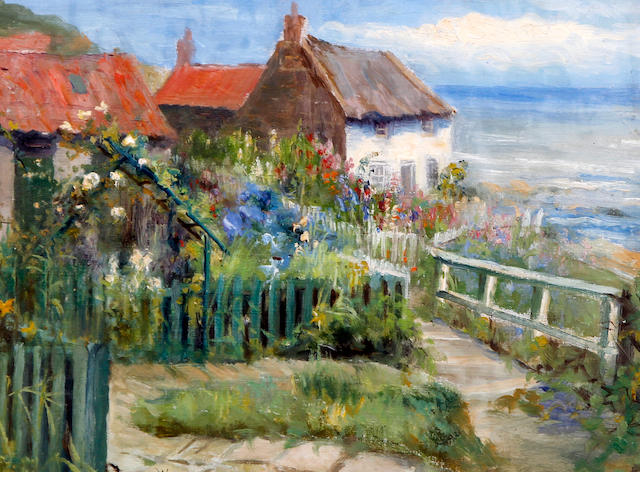 James Watson (British, 1851-1936 Hinderwell, Yorks) Cottage and garden above Runswick Bay