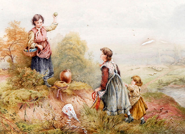 Bernard Foster (British, Early 20th Century) 'Kite Flying'
