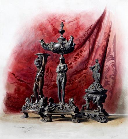 Thomas Hartley Cromek (British, 1809-1873) 'Three Bronzes at Venice'