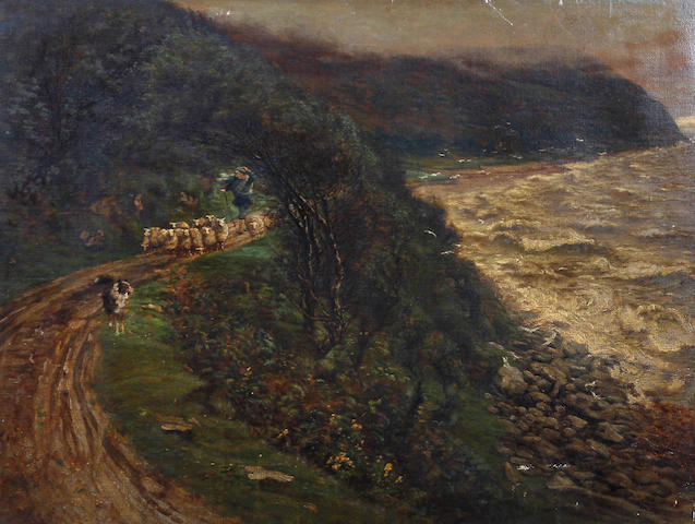 James MacBeth (British, 1847-1891) Shepherd, flock and sheepdog on a coastal path