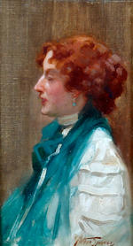Arthur Spooner (British, 1873-1962) 'Green and Gold', portrait study of a lady in profile wearing a green shawl