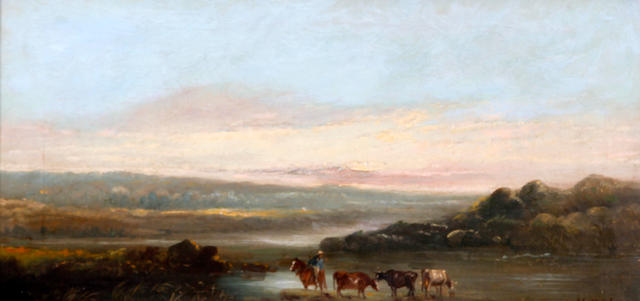Follower of Henry (Sr.) Earp (British, 1831-1914) Cattle watering before a landscape