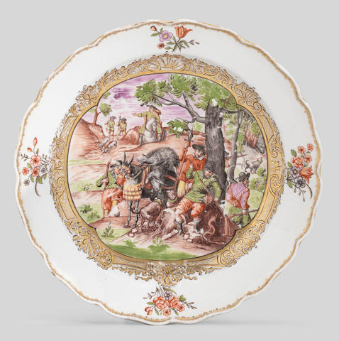 A Meissen Hausmaler plate, mid 18th century