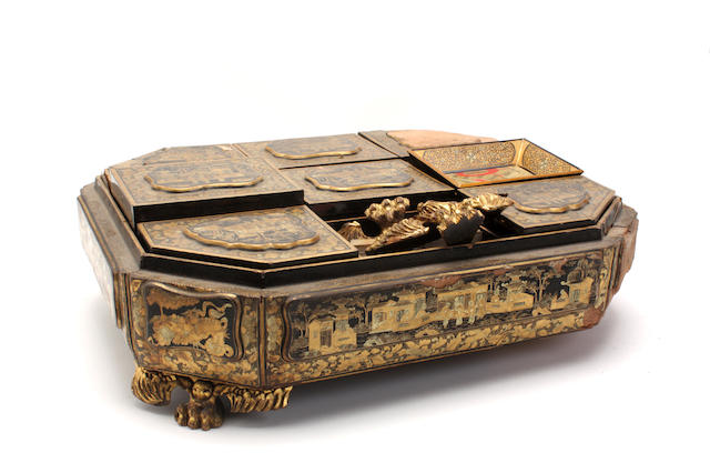 A Chinese Export gilt and black lacquer games compendium, (distressed)first half 19th century