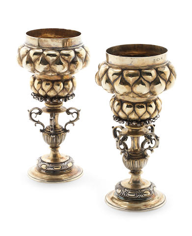 Pair late 19th century German silver gilt pineapple cups in the 17th century style Neresheimer of Hanau