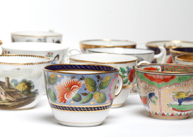 A large collection of British porcelain teacups, 19th century