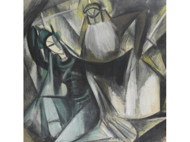 Lin Fengmian (1900-1991), Opera Scene, framed and glazed