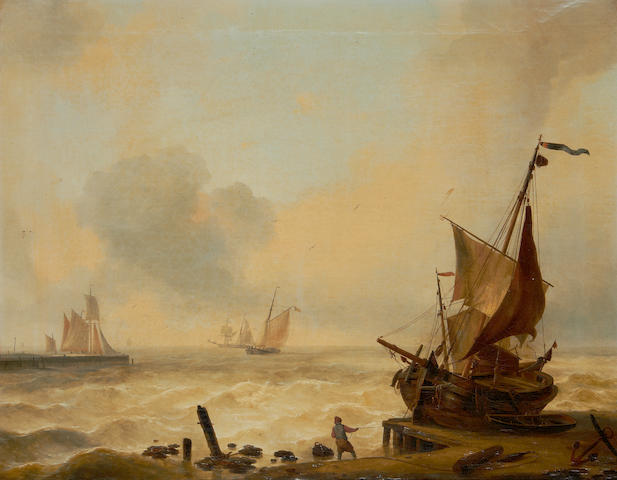 Louis Verboeckhoven (Belgian, 1802-1889) Small boats struggling in a heavy swell off the harbour mouth