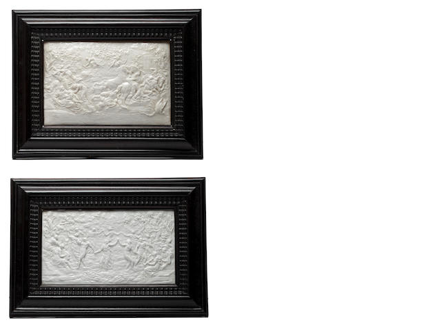 Two framed Doccia plaques and a Doccia lobed tray, late 19th-20th century