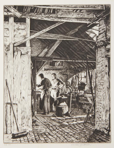 Stanley Anderson (British, 1884-1966) Timmis Smithy, Thame Drypoint, on wove, signed, titled and inscribed 'Ed. 60' in pencil, from the edition of 60, with full margins, 355 x 280mm (14 x 11in)(SH); together with three engravings by the same hand, 'Hurdle Makers', 'The Farm Hand' and 'Hyden, the Old Shepard', on various wove or laid papers, each signed in pencil, two from the edition of 50, the last from the edition of 65, with full margins, in the original mounts. 4 unframed