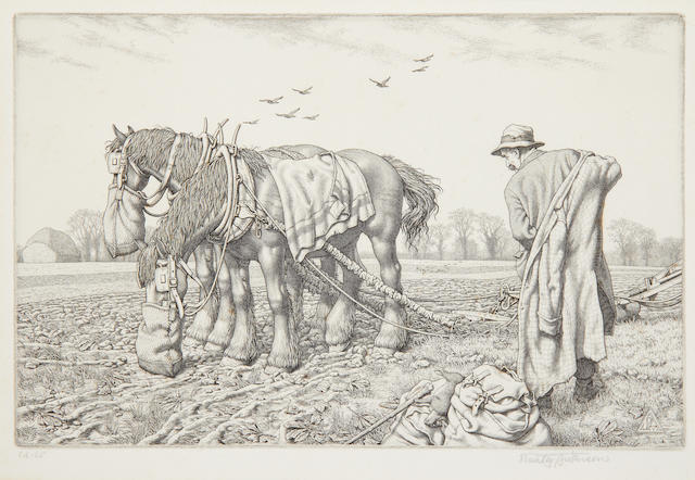 Stanley Anderson (British, 1884-1966) Three Good Friends Engraving, on watermarked laid, signed, titled and inscribed 'Ed.65' in pencil, from the edition of 65, with full margins, 265 x 380mm (10 1/2 x 15in)(SH); together with three others by the same hand, 'The Smith', 'Good Companions' and 'The Clothes-peg maker',each on laid, each signed in pencil, two from the edition of 65, the last from the edition of 60, with full margins, in the original mounts. 4 unframed