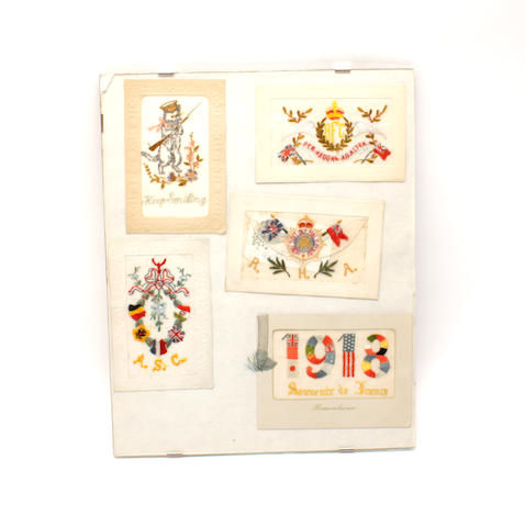 A group of embroidered First World War postcards