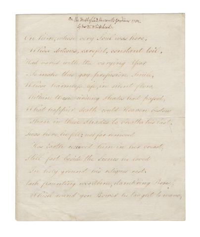 WHITEFIELD, WILLIAM (1715-1785) and HORACE WALPOLE (1714-1791) MANUSCRIPT OF WHITEHEAD'S POEM 'ON THE DEATH OF LORD HARCOURT'S GARDINER 1782', [1782]