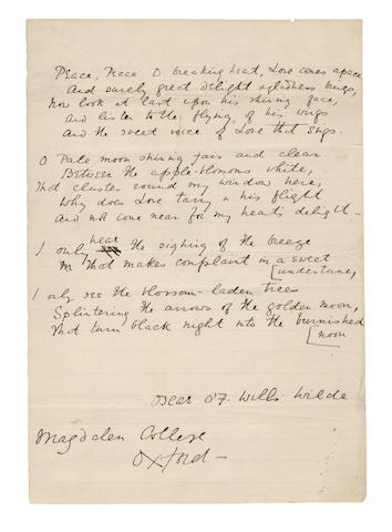 WILDE, OSCAR (1854-1900) AUTOGRAPH REVISED MANUSCRIPT OF HIS EARLY POEM 'HEART'S YEARNINGS', signed