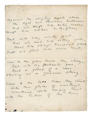 WILDE, OSCAR (1854-1900) AUTOGRAPH MANUSCRIPT OF HIS POEM ['LES BALLONS'], [c.1883-1887]