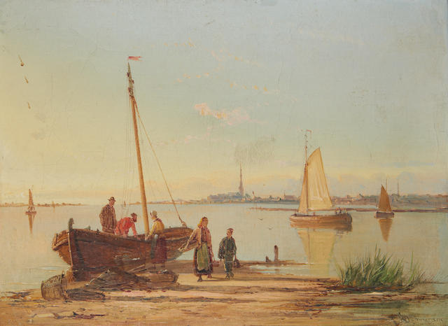 William Raymond Dommersen (Dutch, 1850-1927) Dutch estuary landscapes, a pair (2)