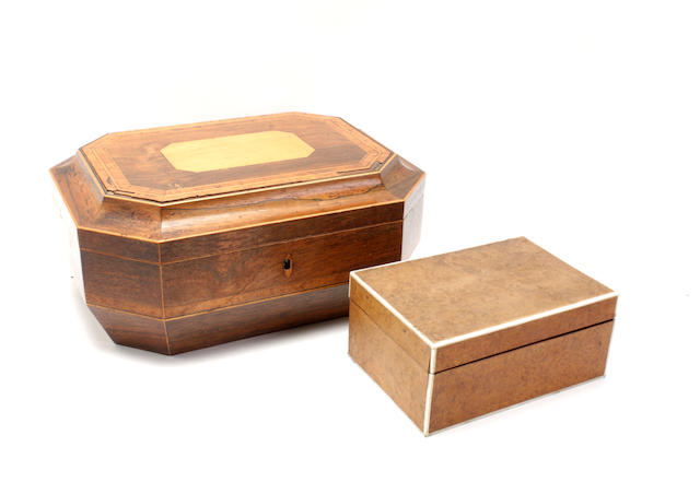 A 19th century rosewood workbox