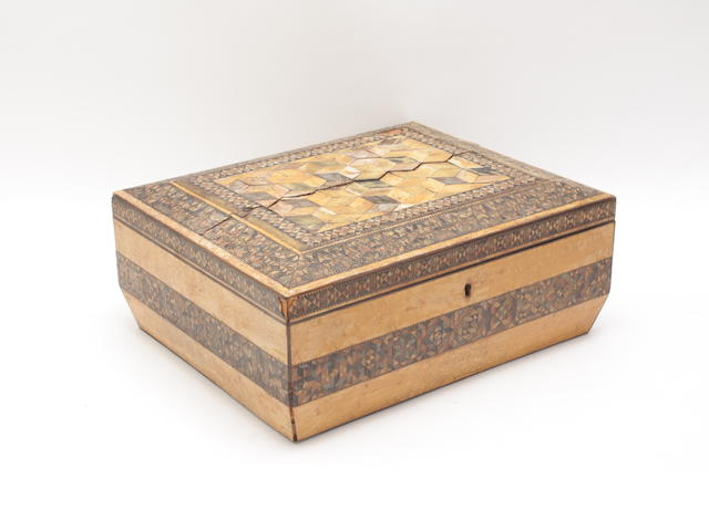 A 19th century parquetry sewing box