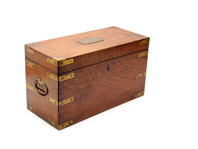 A late Victorian oak and brass bound cool box