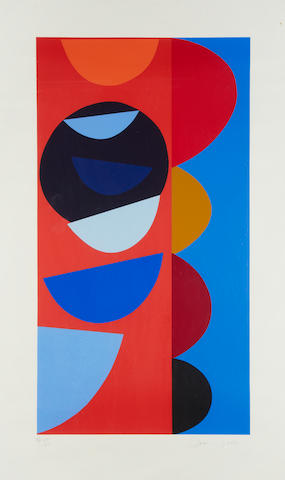 Sir Terry Frost R.A. (British, 1915-2003) Black Sun Dipper Screenprint in colours, 1997, on Arches, signed and inscribed 'AP VIII/XII' in pencil, an artist's proof aside from the numbered edition of 125, printed by Coriander Studio, London, published by Innocent Fine Art, Anderson O'Day and Coriander Studio, with margins, 866 x 465mm (34 x 18 1/4in)(I)
