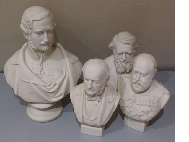 A Copeland bust of Prince Albert together with three small busts