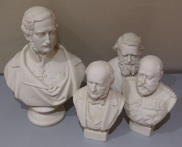 A Copeland parian bust of Prince Albert and three Robinson & Leadbetter parian busts, late 19th century