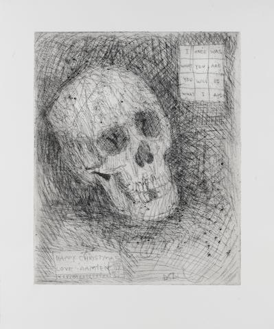 Damien Hirst (British, born 1965) Happy Christmas (Skull) Etching, 2006, on thick wove, with a printed signature and printed inscription 'Jan 07 Dec 06, 'Happy Christmas Love Damien' in the plate, from an unknown edition size, 372 x 302mm (14 1/2 x 11 5/6in)(PL)