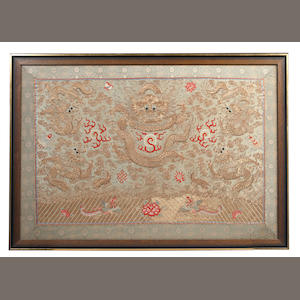 A Chinese embroidered silk panel