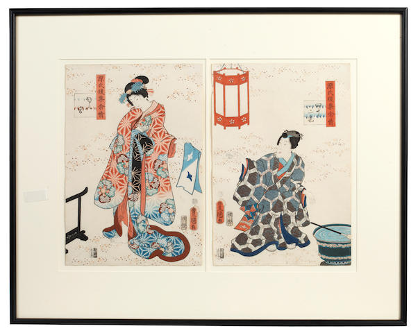 Kunisada II  (Utagawa Munehisa) (Japanese, 1823-1880) Two scenes from the Tale of Genji, two scenes framed as one, 35.5 x 24.5cm (14 x 9 1/2in) each.