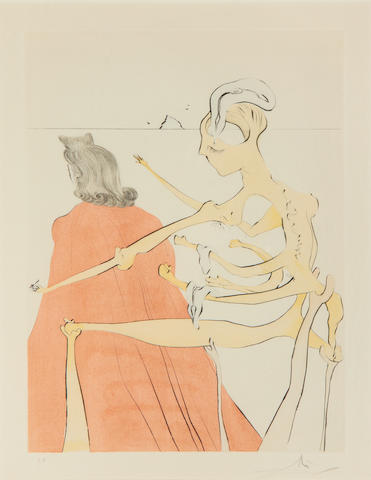Salvador Dali (Spanish, 1904-1989) Gala's Godly Back, from After 50 Years of Surrealism Drypoint etching with stencil, 1974, on Arches, signed and inscribed 'E.A.' in pencil, printed by Atelier Rigal, published by Trans World Art, with their blindstamp, with full margins, 300 x 400mm (11 3/4 x 15 3/4in)(PL)