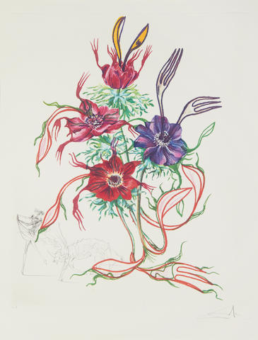 Salvador Dali (Spanish, 1904-1989) Anemone per anti pasti, Surrealistic Flowers Drypoint etching on heliogravure, 1972, on Arches, signed and inscribed 'E.A.' in pencil, aside from the numbered edition of 350, printed by Ateliers Rigal/ Draeger, published by Editions Graphiques Internationales, with their stamp verso,with full margins, 750 x 560mm (29 1/2 x 22in)(SH)