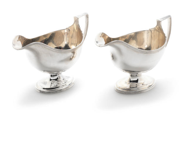 A pair of George III silver sauceboats by William Bennett, London 1807