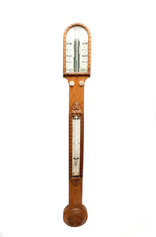 A Victorian oak stick barometer  by Gardiner & Co, Glasgow
