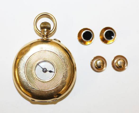An 18ct gold half hunter pocket watch and four dress studs,(3)