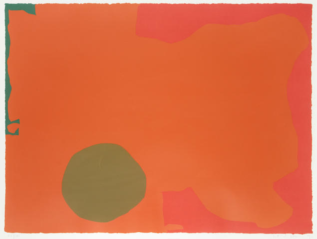 Patrick Heron (British, 1920-1999) Umber disc and red edge screenprint in colours, 1970, on wove, signed, dated and numbered 53/100 in pencil, published by Waddington Graphics, London, 585 x 780mm (23 x 30 3/4in)(I)