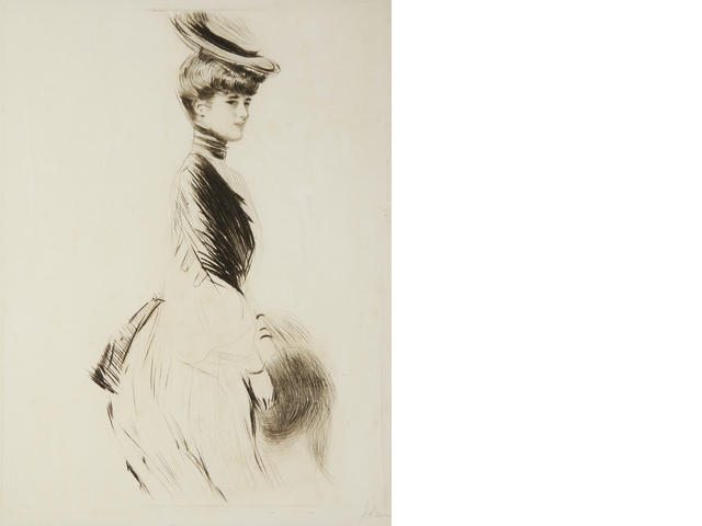 Paul César Helleu (French, 1859-1927) Young woman standing drypoint, on wove, signed in pencil, 395 x 298mm (15 1/2 x 11 3/4in)(PL)