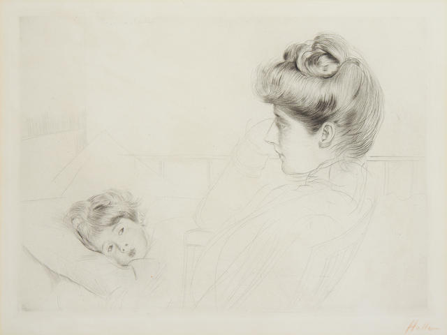 Paul César Helleu (French, 1859-1927) Mother & child drypoint, on wove, signed in red crayon, 252 x 348mm 10 x 13 3/4in)(PL)