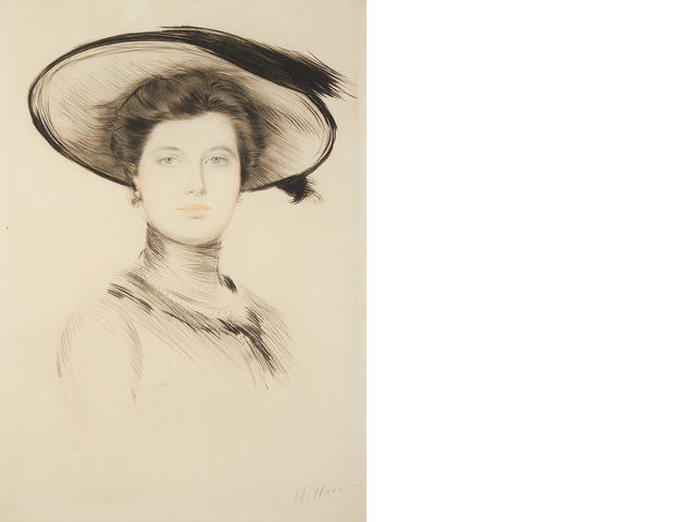 Paul César Helleu (French, 1859-1927) Portrait of a young woman drypoint in two colours, on wove, signed in pencil, 488 x 338mm (19 1/4 x 13 1/4in)(PL)