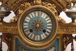 A French ormolu and Sèvres pattern porcelain mounted clock garniture