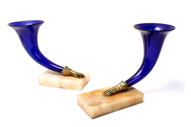 A pair of 19th century blue glass Cornucopia vases