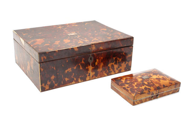 A 18th century tortoiseshell sewing box