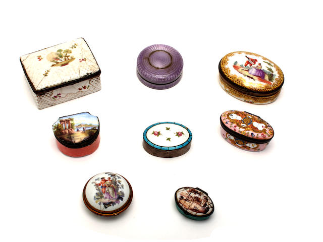 A group of 18th century and later patch boxes
