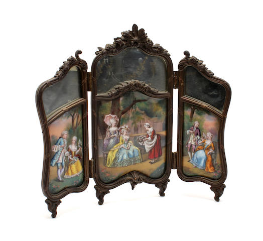 A late 19th century folding enamel table screen