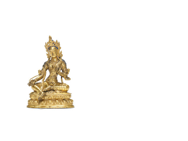 A gilt bronze figure of green Tara  17th/18th century