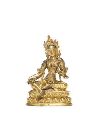A gilt bronze figure of green Tara  17th/18th century