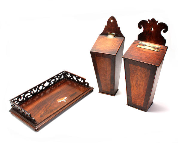 A Victorian rosewood book trough and two candle boxes