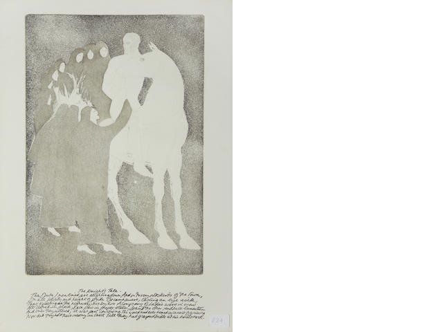 Dame Elisabeth Frink R.A. (British, 1930-1993) Canterbury Tales II Eighteen etchings with aquatint, 1972, (from the set of 19), on watermarked J Barcham Green paper, signed and numbered C264 on the last page in black crayon, also signed and dated 14 March 1975 in black ink on the first page, printed in White Ink, published by Leslie Waddington Prints Ltd, 16 framed, the 2 unframed together with the text pages in the original olive green folio case, 500 x 340mm (19 3/4 x 13 1/3in)(PL), 670 x 480mm (Folio) (16 framed, Vol)